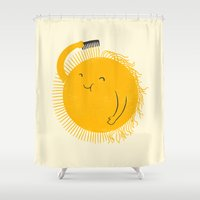 ilovedoodle Shower Curtains featuring Here comes the sun by I Love Doodle