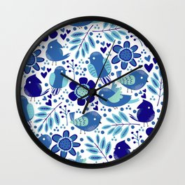 Blue Cute Little Birds And Flowers Pattern  Wall Clock