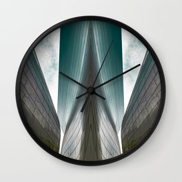 Architectural abstract of a metal clad building looming in symmetry and foreboding Wall Clock