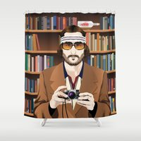 tenenbaum Shower Curtains featuring Richie Tenenbaum by The Art Warriors