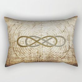 Double Infinity Silver Gold antique Rectangular Pillow