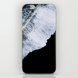 Waves crashing on a black sand beach – minimalist Landscape Photography iPhone Skin