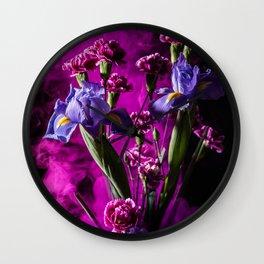 Purple Floral Smoke Bouquet  Wall Clock