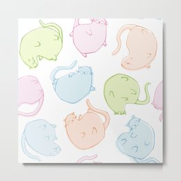 Cat Blobs Cats Metal Print