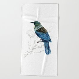 Tui, New Zealand native bird Beach Towel