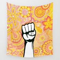 fight Wall Tapestries featuring Let's fight ! by Art & Be