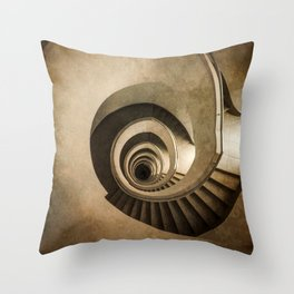 Spiral staircase in brown tones Throw Pillow