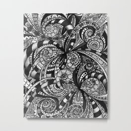 Drawing Floral Zentangle G6 Metal Print