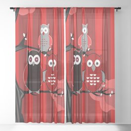 Red Owls Sheer Curtain