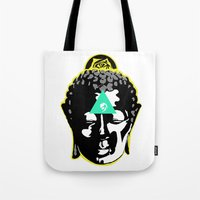 buddah Tote Bags featuring Buddah by New Ill