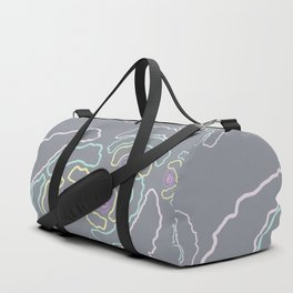 illustration made in pastel colors making small shapes that mimic geometric flowers Duffle Bag
