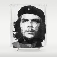 che Shower Curtains featuring Che by Poly Iconik Art