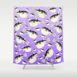 Puffer Fish Violet Purple Pattern Shower Curtain