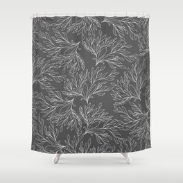 Modern hand drawn gray white leaves pattern Shower Curtain