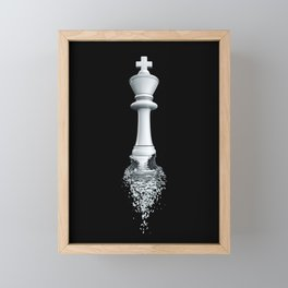 Farewell to the Pale King / 3D render of chess king breaking apart Framed Mini Art Print
