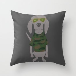 Camo Weim Hunting Grey Ghost Weimaraner Dog Hand-painted Pet Drawing Throw Pillow