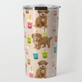 Bishpoo bubble tea kawaii food dog breed pet friendly pet portrait patterns Travel Mug