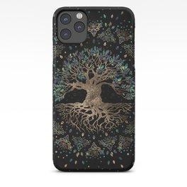 Tree of life -Yggdrasil Golden and Marble ornament iPhone Case