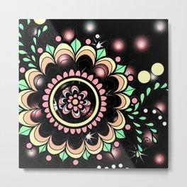 Lighted Doodle Art Flower Medallion - Black Metal Print