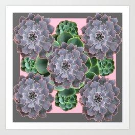 ORNATE JADE & GREEN SUCCULENT PINK   GARDEN Art Print