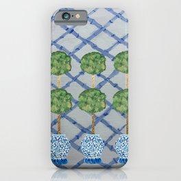 Blue Lattice Ginger Jars Topiary  iPhone Case