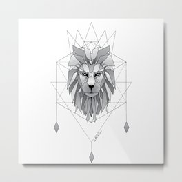 Geometric Lion Metal Print