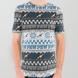 Pew Pew Gun Ugly Christmas Sweater Pattern All Over Graphic Tee