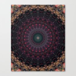 Mandala in dark red and brown tones Canvas Print