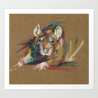 rat Art Prints featuring Rat by Anaïs Chesnoy