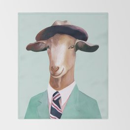 Minty Goat Throw Blanket