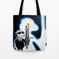 snoopy Tote Bags featuring MIB Snoopy by Karmaela.com