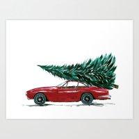 Vintage 80's car carrying a Christmas tree Art Print