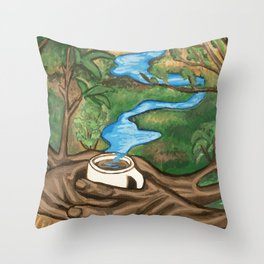 River landscape in a Coffee Cup- Pheasant Branch Conservancy Throw Pillow