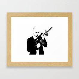 Businessman bodyguard with a big gun stillet stamp Framed Art Print