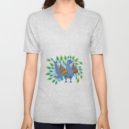 Dancing Peacock Unisex V-Neck