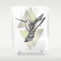 hummingbird Shower Curtains featuring Hummingbird by Barlena