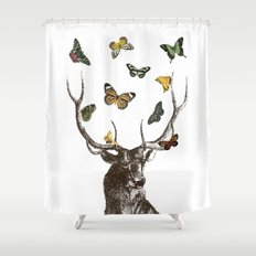 The Stag and Butterflies Shower Curtain