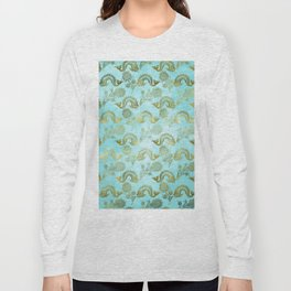 Mermaid Ocean Whale Friends - Teal And Gold Pattern Long Sleeve T-shirt