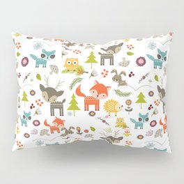 Cute Woodland Creatures Pattern Pillow Sham