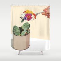 succulent Shower Curtains featuring SUCCULENT by Beth Hoeckel
