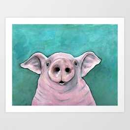 Happy pig painting, smiling pig watercolor, colorful piglet art, laughing piggy, kid's wall art, kit Art Print