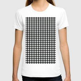 Plaid pattern black and white T-shirt