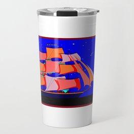 A Clipper Ship at Sea Full Sail at Night under the Stars Travel Mug