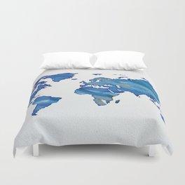 Blue World Map 01 Duvet Cover