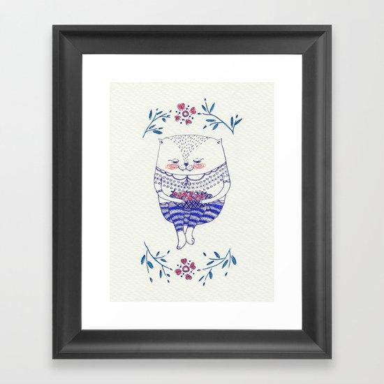 strawberry cat Framed Art Print