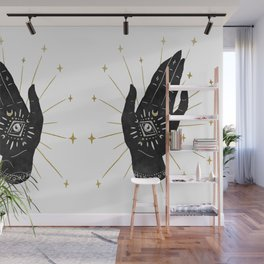 Mystic Hand with Eye - Black and Gold Ink Wall Mural