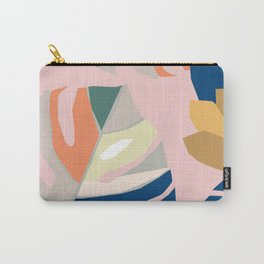 Monstera leaf Jungle mid century modern paper collage Carry-All Pouch