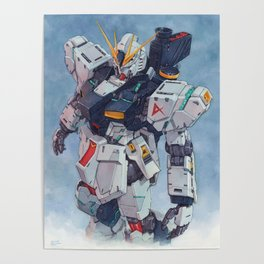 Nu Gundam watercolor Poster