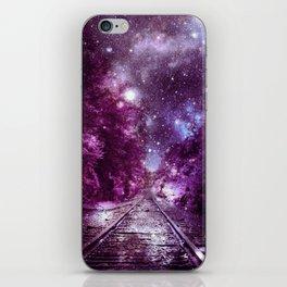 Dream Train Tracks : Next Stop Anywhere purple pink iPhone Skin