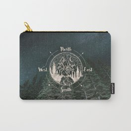 Mountains Compass Milky Way Woods Gold Carry-All Pouch